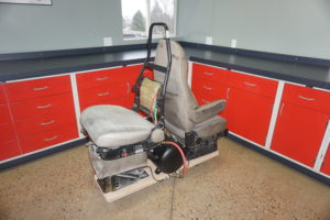 A trial exhibit demonstrating how an air ride suspension seat functions.