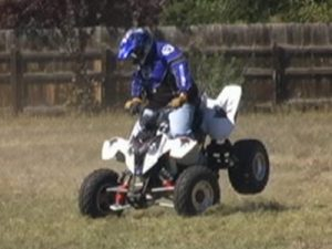 Brake testing to analyze the performance characteristics of an ATV.