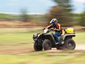 Dynamic ATV rollover testing conducted to analyze the effect of cargo on vehicle stability.