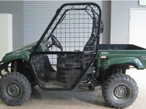 Impact fabricated this door in order to demonstrate an alternative design for the Rhino side-by-side shown. The door increases the safety of the vehicle by strengthening the roll-over protection system (ROPS), and by improving the retention of the occupant.