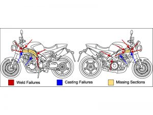 A motorcycle drawing indicating where the frame failed.
