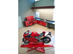 Ducati Superbike on a motorcycle lift in our lab facility.