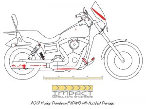 Scale drawing showing all of the damage sustained by a Harley-Davidson motorcycle in a single-vehicle motorcycle accident.