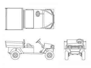 Scale drawings of a golf cart derived utility vehicle.