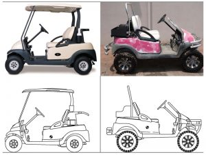 Drawings used to analyze the effects of the modification made to a custom golf cart.