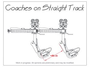 Drawing showing the configuration of the roller coaster cars on a straight track.