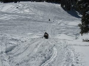 Snowmobile vehicle and scene inspection
