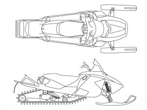 Computer generated scale drawings of a snowmobile. We utilize state-of-the-art computer software to assist in the reconstruction of various types of accidents.